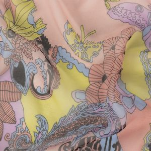 Pink, Blue and Yellow Paisley Florals and Butterflies Silk Chiffon
