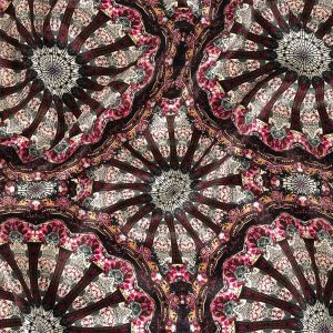 Magenta, High Rise and Cream Floral Medallions SIlk Charmeuse