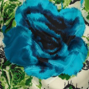 Lyons Blue, Green and White Painterly Roses Silk Crepe de Chine