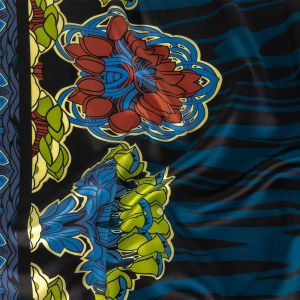 Black, Blue and Green Zebra Stripes and Floral Borders Silk Charmeuse