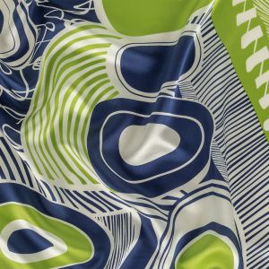 Lime, Navy and Icicle Abstract Silk Charmeuse