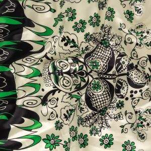 Green, Deep Well and White Floral Silk Charmeuse