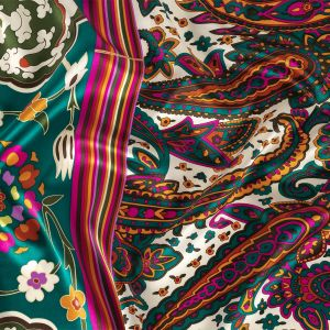 Teal, Pink and Orange Paisley, Stripes and Honeycombs Silk Charmeuse