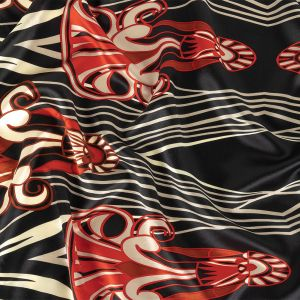 Red, Cream and Caviar Diamonds and Abstract Silk Charmeuse
