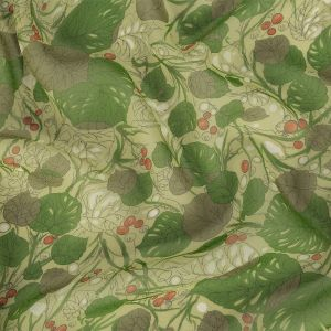 Green and Orange Little Berries and Leaves Silk Chiffon