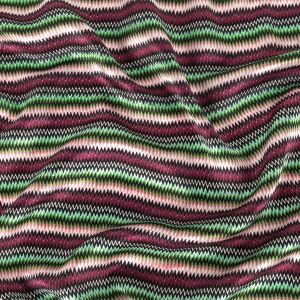 Pink and Green Zig Zag Stripes Silk Charmeuse