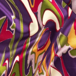 Purple, Magenta and Green Abstract Silk Charmeuse