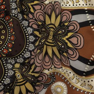 Brown, Black and Potter's Clay Paisley Silk Crepe de Chine