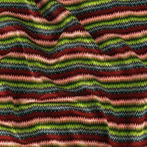 Red and Lime Zig Zag Stripes Silk Charmeuse