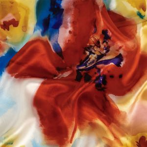 Red, Blue and Yellow Floral Splash Silk Charmeuse