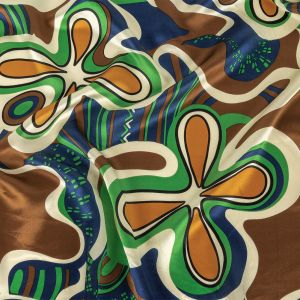 Estate Blue, Green and Brown Retro Floral Silk Charmeuse