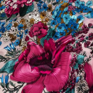 Blue, Fuchsia Red and Magenta Purple Rainforest Flowers Silk and Rayon Burnout