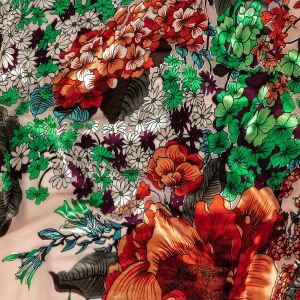 Blush, Red, and Green Rainforest Flowers Silk and Rayon Burnout