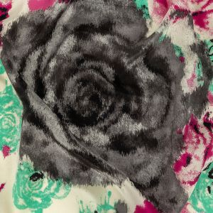 Pink, Electric Green and Flannel Gray Painterly Roses Silk Crepe de Chine
