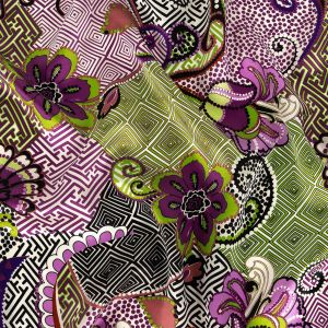 Purple and Green Flowers, Spots and Diamonds Silk Charmeuse