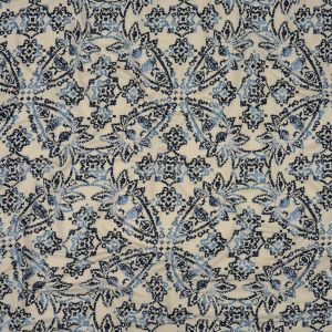 Insignia Blue and Star White Paisley Stretch Rayon Jersey