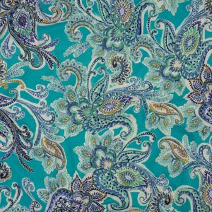 Turquoise, Cobalt and Mustard Paisley Cotton Jersey