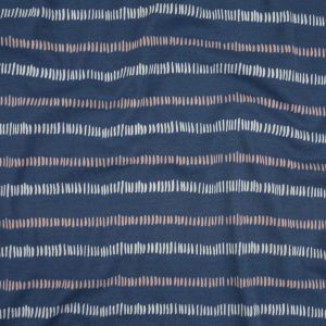 Dusty Blue, Pale Pink and White Hatched Stripes Organic Cotton 1x1 RIb Knit