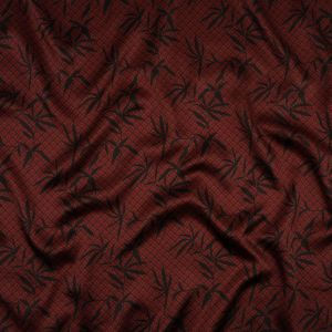 Merlot and Black Bean Leaves and Squares Polyester Satin Lining