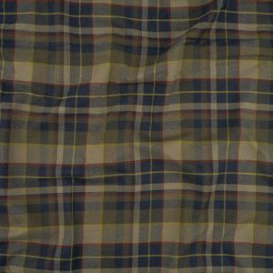 Olive, Outer Space and Red Plaid Cotton Twill Flannel