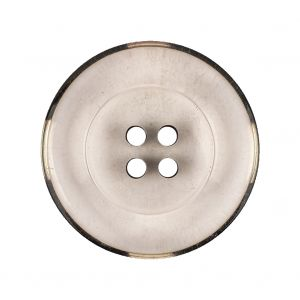 Italian Transparent and Black 4-Hole Tire Rimmed Jacket Button - 44L/28mm