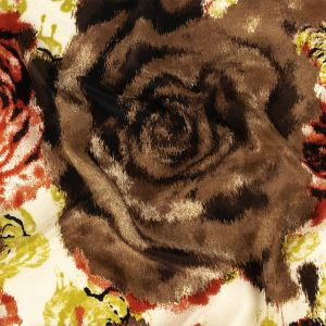 Red, Chartreuse and Brown Painterly Roses Silk Crepe de Chine
