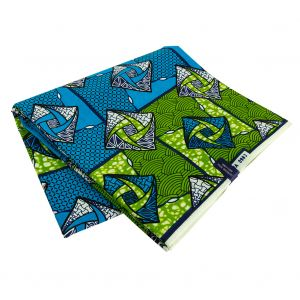 Estate Blue and Grass Green Geometric Cotton Supreme Wax African Print