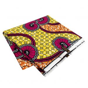 Pink, Lemon and Orange Spirals and Abstract Cotton Supreme Super Wax African Print