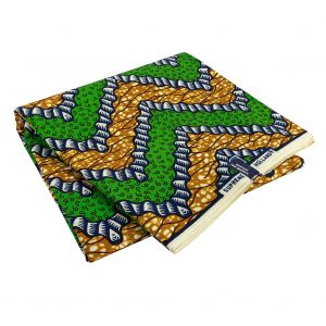Green, Estate Blue and Tan Wavy Zig Zags Cotton Supreme Wax African Print