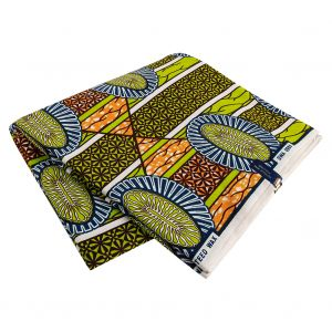Lime, Estate Blue and Orange Striped Floral Cotton Supreme Wax African Print