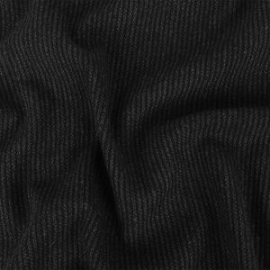 Charcoal and Black Ribbed Twill Stripes Wool Coating
