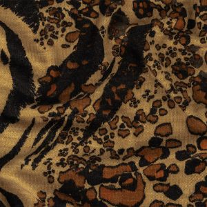 Black, Brown and Tan Mixed Animal Print Polyester Sweater Knit