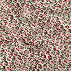 Pink, Green, and Silver Birch Floral Stretch Cotton Shirting