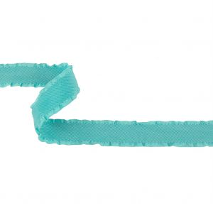 Turquoise Twill Ribbon with Ruffled Grosgrain Borders - 1