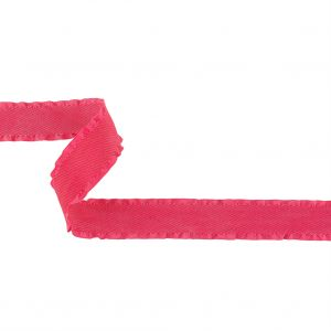 Pink Twill Ribbon with Ruffled Grosgrain Borders - 1