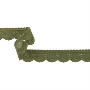 Sage Green Bows and Scallops Eyelet and Embroidered Trim - 1.125