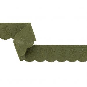 Moss Bouquets and Bows Scalloped Embroidered and Eyelet Trim - 1.6875