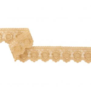 Marzipan Sunflowers and Scallops Embroidered Mesh Lace Trim - 1.5