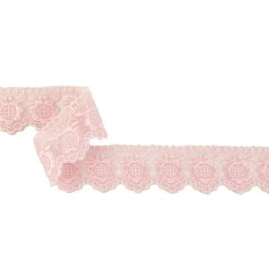 Pale Lilac Sunflowers and Scallops Embroidered Mesh Lace Trim - 1.5