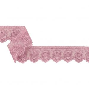 Lilac Sunflowers and Scallops Embroidered Mesh Lace Trim - 1.5