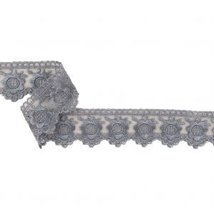 Gunmetal Sunflowers and Scallops Embroidered Mesh Lace Trim - 1.5