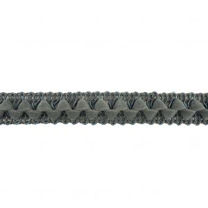 Steel Blue Cord and Faux Suede Braided Trim - 0.5