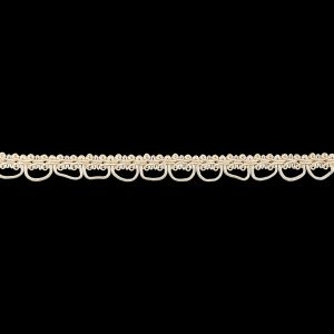 Sand Dollar and Pearled Ivory Gimp Braided Trim with Loops - 0.625