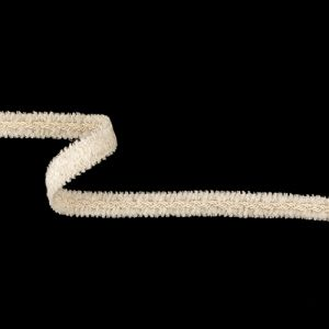 White and Seedpearl Chenille Braided Cotton Blend Trim - 0.625