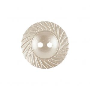Antique White Pearl Tinted Abstract 2-Hole Button with Decorative Rim - 36L/23mm