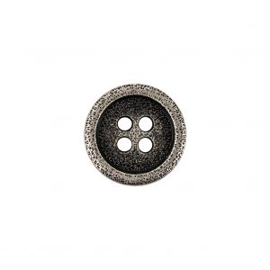 Italian Carbon Silver Shallow Plate 4-Hole Metal Coat Button - 24L/15mm