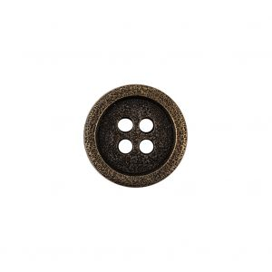 Italian Hint of Gold Bronze Shallow Plate 4-Hole Metal Coat Button - 24L/15mm