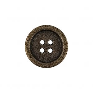 Italian Hint of Gold Bronze Shallow Plate 4-Hole Metal Coat Button - 32L/20mm