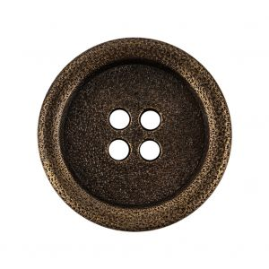 Italian Hint of Gold Bronze Shallow Plate 4-Hole Metal Coat Button - 44L/28mm