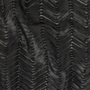 Black Chevrons Faux Leather Ribbon Embroidered Mesh